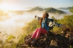 Adventure travel,landscape with fog in the morning Stock Images
