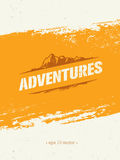 Adventures. Adventure Mountain Hike Creative Motivation Concept. Vector Outdoor Design. On Rough Distressed Background Royalty Free Stock Photos