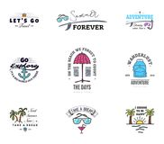 Adventures begin on vacation, banner templates, for social networks with quotes for relaxing on the beach and the sea. vector illustration