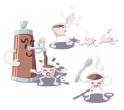 Adventures of coffee cup. Part 2. Vector illustration Stock Images