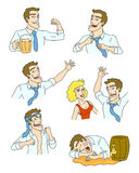 Drunkard. The adventures of drunkards. How alcohol changes people. Vector illustration Stock Photo