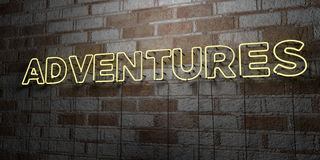 ADVENTURES - Glowing Neon Sign on stonework wall - 3D rendered royalty free stock illustration. Can be used for online banner ads and direct mailers Stock Image