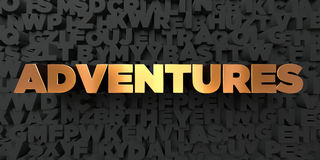 Adventures - Gold text on black background - 3D rendered royalty free stock picture Royalty Free Stock Photos