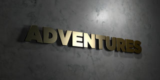 Adventures - Gold text on black background - 3D rendered royalty free stock picture. This image can be used for an online website banner ad or a print postcard Royalty Free Stock Image