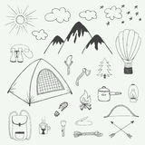 Adventures hand drawn doodle set in vintage style Stock Photos