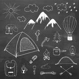 Adventures hand drawn vector doodle set. In vintage style on chalkboard Royalty Free Stock Image
