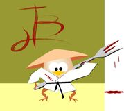 Adventures of hurd egg. Dressed in kimono with blood-stained plug - vector Royalty Free Stock Photography