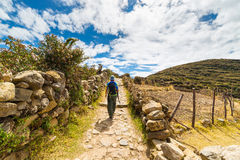 Adventures on Island of the Sun, Titicaca Lake, Bolivia Royalty Free Stock Image