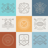 Adventures, nautical and travel emblems signs and labels. Line drawing illustration Stock Image