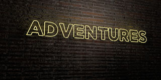 ADVENTURES -Realistic Neon Sign on Brick Wall background - 3D rendered royalty free stock image. Can be used for online banner ads and direct mailers Royalty Free Stock Photo