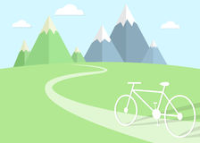 The Adventures of road cyclists. Vector illustration Royalty Free Stock Images