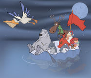 Adventures of Santa Claus and his friends. The cheerful company of animals travels on an ice floe Stock Image