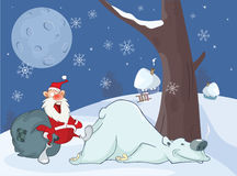 Adventures of a Santa Claus and Polar Bear. Comics for you Design. Stock Image