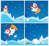 Adventures of a Snowman. Cartoons and Comics for you Design Stock Photos