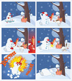 Adventures of a Snowman with a firework.  Cartoons and Comics for you Design. Set of various ridiculous snowballs for comics Stock Image