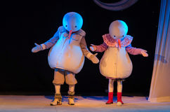 The Adventures of Snowmen. DNIPRO, UKRAINE - MARCH 25, 2017: The Adventures of Snowmen performed by members of the Dnipro Youth Theatre Small Stage Royalty Free Stock Photography