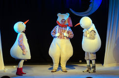 The Adventures of Snowmen. DNIPRO, UKRAINE - MARCH 25, 2017: The Adventures of Snowmen performed by members of the Dnipro Youth Theatre Small Stage Stock Photo