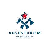 Adventurism. Pirate tales. Logo. Royalty Free Stock Photo