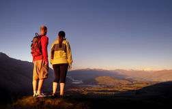 Adventurists Enjoying Beautiful Sunrise Queenstown Concept Stock Photography