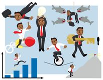 Adventurous Cartoon Business Man in Various Poses Vector Set Tan Version vector illustration
