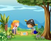 The adventurous kids stock illustration