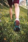 Sportive Girl Hiking. Adventurous Sportive Girl hiking in Beautiful Alpine Mountains stock photography