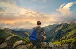 Free Adventurous Sporty Girl Resting After Hiking Stock Photography - 153421962
