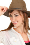 Adventurous woman with fedora Stock Photography