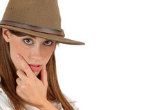 Adventurous woman with fedora Royalty Free Stock Images