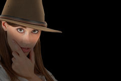 Adventurous woman with fedora Stock Image