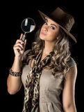 Adventurous woman on safari Royalty Free Stock Photo
