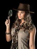 Adventurous woman on safari Stock Photo