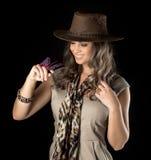 Adventurous woman on safari Stock Photos