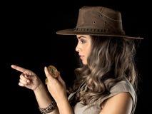 Adventurous woman on safari Royalty Free Stock Photos