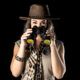 Adventurous woman on safari. Beautiful woman venturing into the exploration of a safari Royalty Free Stock Images