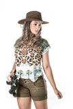 Adventurous woman on safari. Beautiful woman venturing into the exploration of a safari Royalty Free Stock Photography