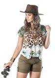 Adventurous woman on safari Stock Image