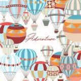 adventurousness Иллюстрация с воздушными шарами в винтажном хлеве битника иллюстрация вектора