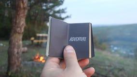 adventurousness Книга с надписью сток-видео