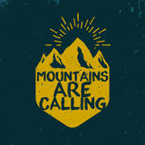 Advenutre emblem. Mountains are calling logotype in vintage style Stock Photo
