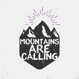 Advenutre emblem. Mountains are calling retro emblem, vintage vector Royalty Free Stock Photos