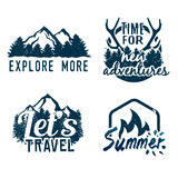 Advenutre emblem. Set of outdoor vintage emblems. Explore more, time for new adventures, let's travel labels and suummer campfire badge. Stock vector Royalty Free Stock Photo