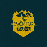 Advenutre emblem. Vintage retro logo, the adventure begins. Vector illustration Stock Photography