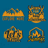 Advenutre emblems. Set of outdoor vintage emblems. Explore more, time for new adventures, let's travel labels and suummer campfire badge. Stock vector Stock Photos
