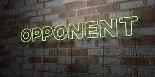 ADVERSAIRE - Enseigne au néon rougeoyant sur le mur de maçonnerie - 3D a rendu l'illustration courante gratuite de redevance illustration libre de droits