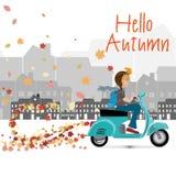 Adversting geometrico di autunno trre e foglie di autunno Illustrazione di vettore ENV 10 Fotografie Stock Libere da Diritti