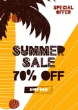 Advert card with lettering 70 off summer sale in hand drawn style. Can be used as advert coupon, poster, flyer, brochure.  vector illustration