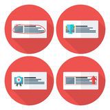 Advert flat circle icons set with long shadow Royalty Free Stock Photography