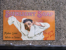 Advert for his soap in Port Sunlight, created by William Hesketh Lever for his Sunlight soap factory workers in 1888. Stock Images