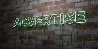 ADVERTEER - Gloeiend Neonteken op metselwerkmuur - 3D teruggegeven royalty vrije voorraadillustratie royalty-vrije illustratie